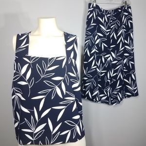 Ann Taylor Blue Floral Cullotes 2 pc set